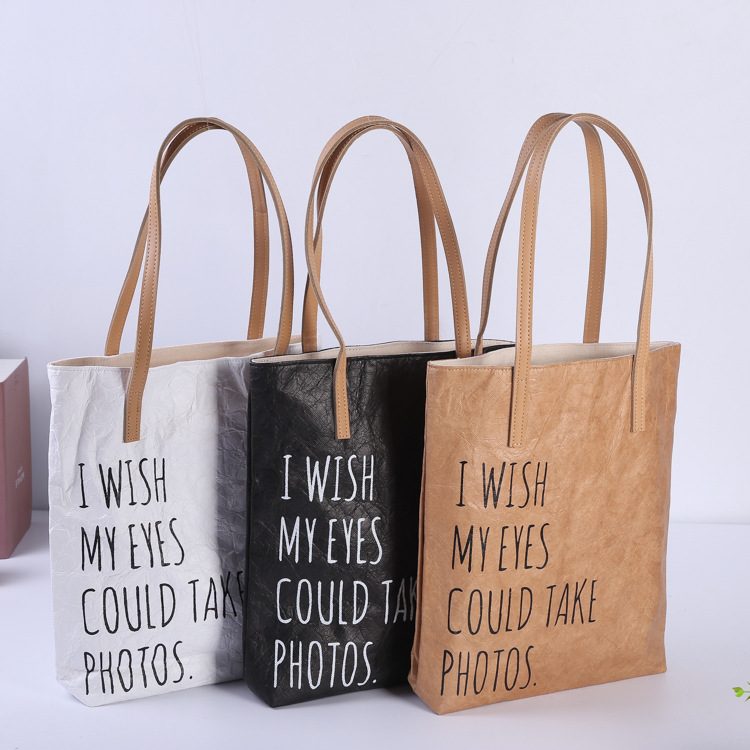 DuPont paper bag custom double handle gift bag washable kraft paper bag zipper retro shopping bag cu