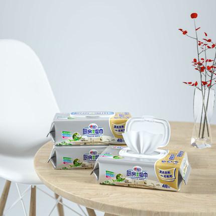Xinxiangyin Khăn ướt  lau khăn lau nhà bếp để làm sạch và tẩy dầu mỡ 40 miếng trong 3 gói khăn lau n