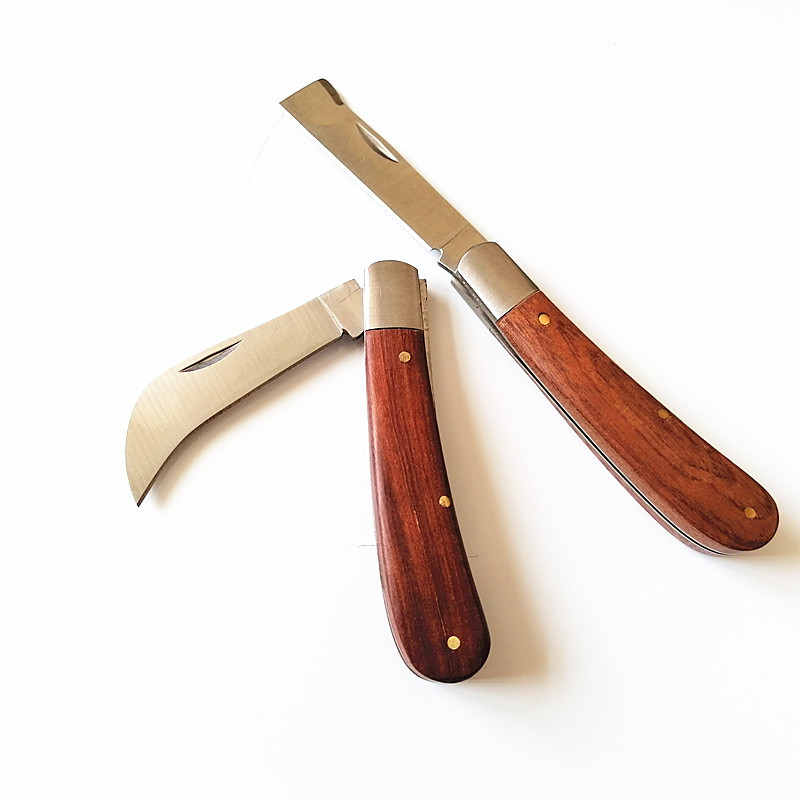 Wooden handle electric knife folding knife outdoor camping knife high quality tool knife