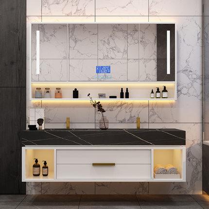 Tủ phòng tắm  Tủ phòng tắm thông minh kiểu Bắc Âu kết hợp bảng đá phòng tắm bàn trang điểm gương nhẹ