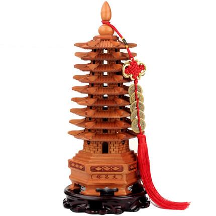 Juyuan Đồ trang trí bằng gỗ  Pavilion Gỗ đào Tháp Văn Xương bằng gỗ Hỗ trợ học tập Kinh doanh Tầng 1