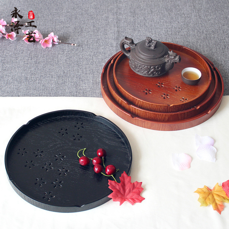 YONGFENG Home Dining Plate Round Hotel Wooden Cutlery Plate Tea Cup Plate Wooden Disc Japanese Woode