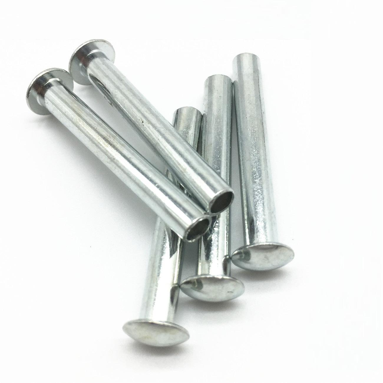 DENGBO Semi-hollow flat round head iron rivets Metal single-sided industrial white galvanized rivets