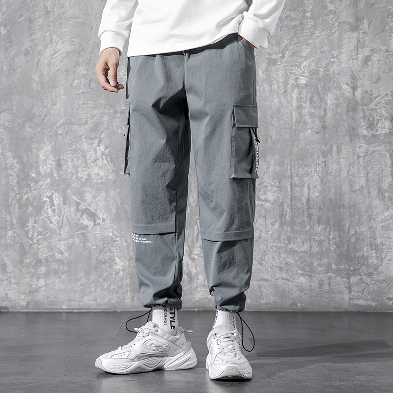 CISHUAI Pants men's trend autumn men's tooling casual pants youth loose-fitting all-match nine-poi
