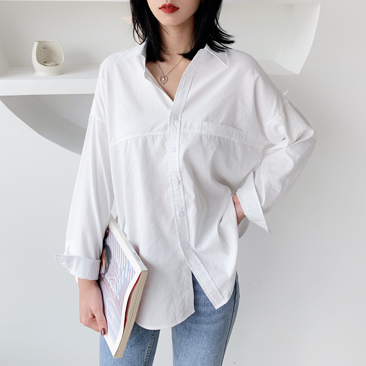XIAOMIYINUO 5838 solid color shirt women's 2020 summer new Korean women's loose long sleeve versat
