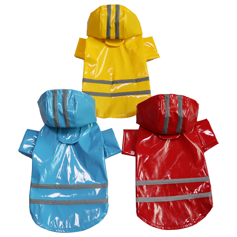 MANMIAO Rainy season fashion Pu reflective strip pet raincoat factory direct sale big dog raincoat s