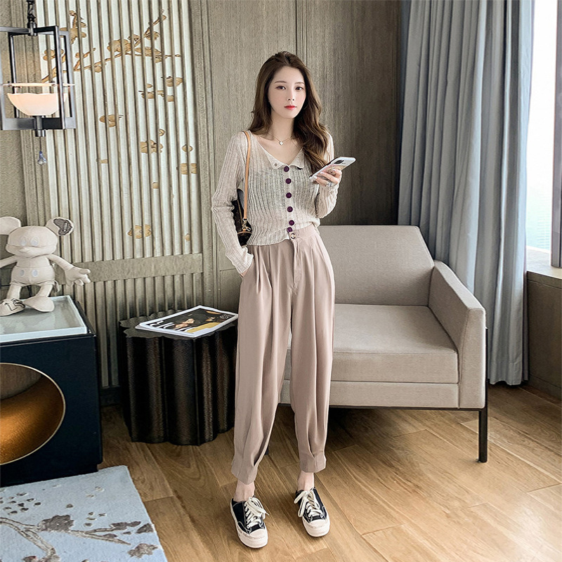 Girly sense of wearing a suit, women's summer long-sleeved sunscreen knit sweater with small feet a