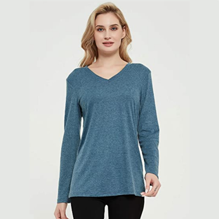 2020 Hot European and American women's wear V-neck solid color knitted bottoming shirt women's T-s