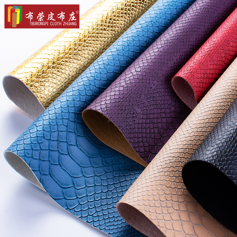 BURONGPI Serpentine leather fabric PVC embossed leatherette bag material shoe material sofa upholste