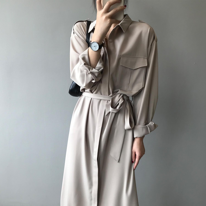 Yanshuang 2020 autumn new dress women's waist and thin temperament shirt skirt French light mature