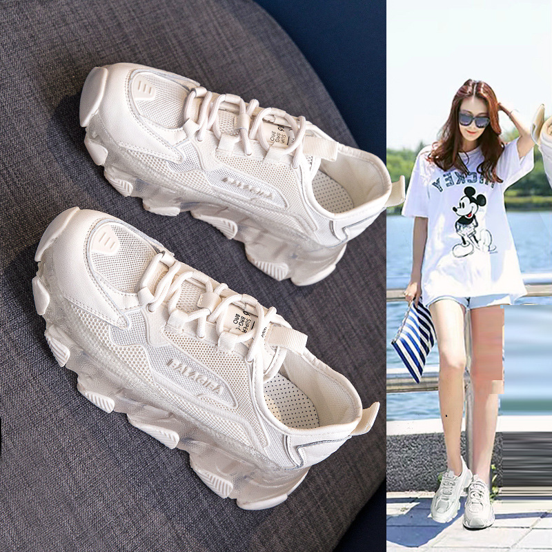 Giày thể thao phối lưới thoáng khí gót cao dành cho nữ