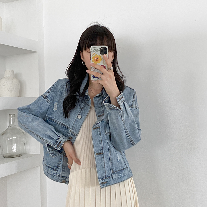 Denim jacket women 2020 autumn loose Korean style trendy ins retro long-sleeved jacket top N088H