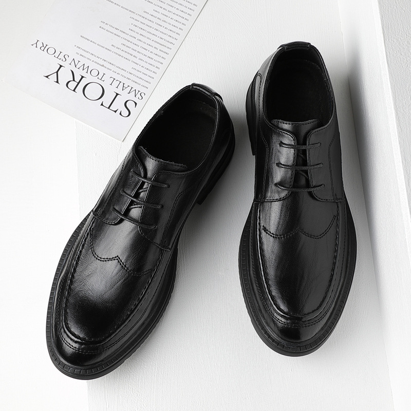 VELLDONE Leather shoes men's leather casual business formal wear men's shoes Korean version of the