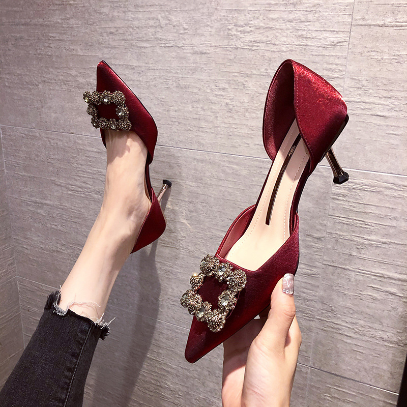 JINHANSHA Red wedding shoes female high heels 2020 spring and summer new single shoes hollow pointed