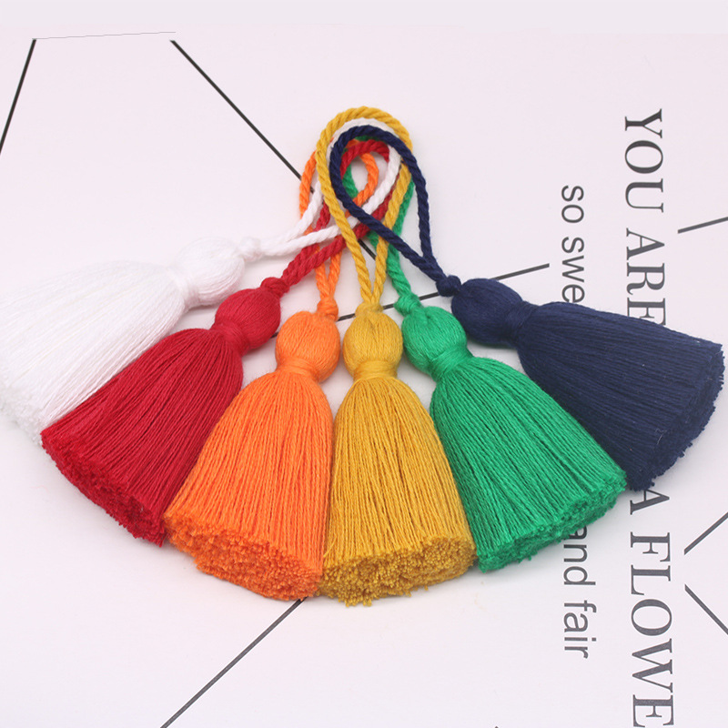 LIFANG 11cm rope hanging ear coarse tassel pure cotton 300 kinds of colors optional sample customize