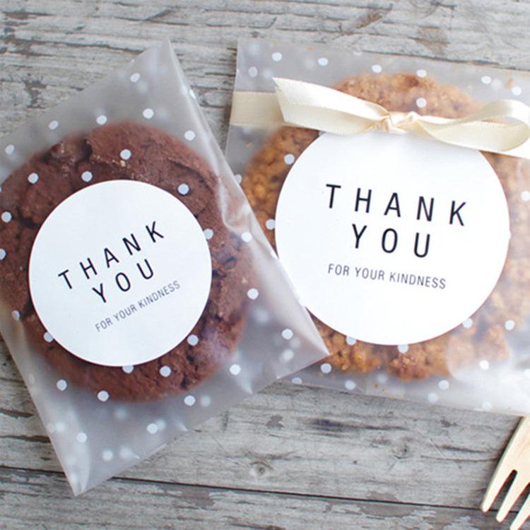 BENYOU Baking packaging frosted dot self-adhesive packaging bag translucent opp food bag 100 pcs/pac