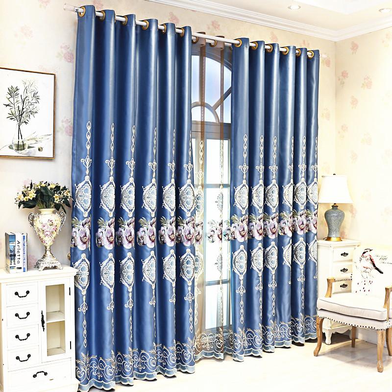 YANZHITANG Modern light luxury blue shading simulation silk embroidery living room curtain cloth pur