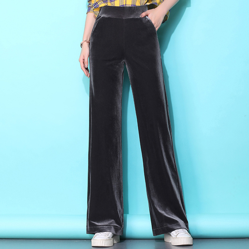 QIANZIFU Gold velvet wide-leg pants women's pants 2020 autumn loose velvet straight-leg pants high-