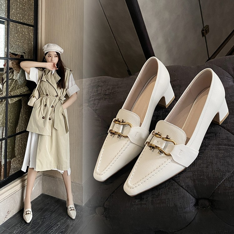 MEIYILANG Early spring new low-top women's shoes 2020 shallow mouth thick heel mid-heel small squar