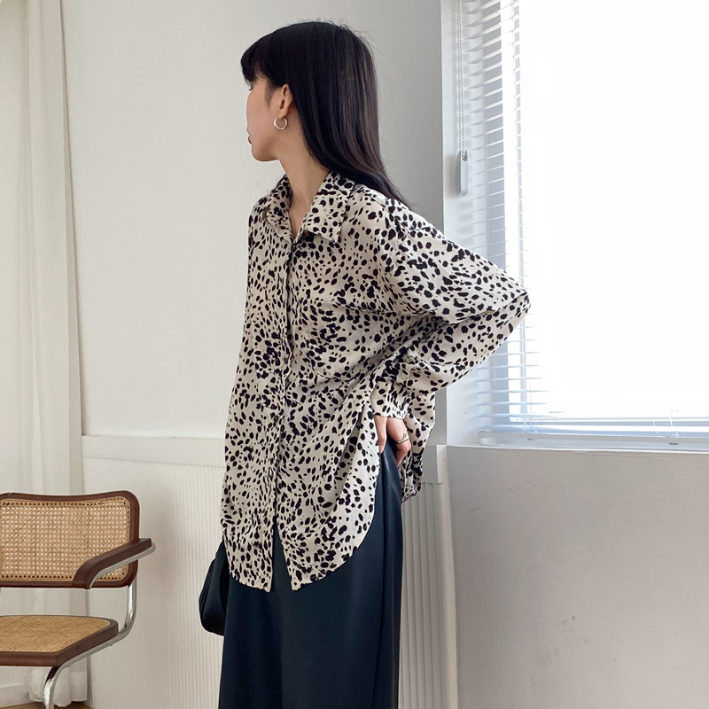 APXIVI Retro chiffon leopard shirt women's autumn and winter design sense shirt loose long-sleeved
