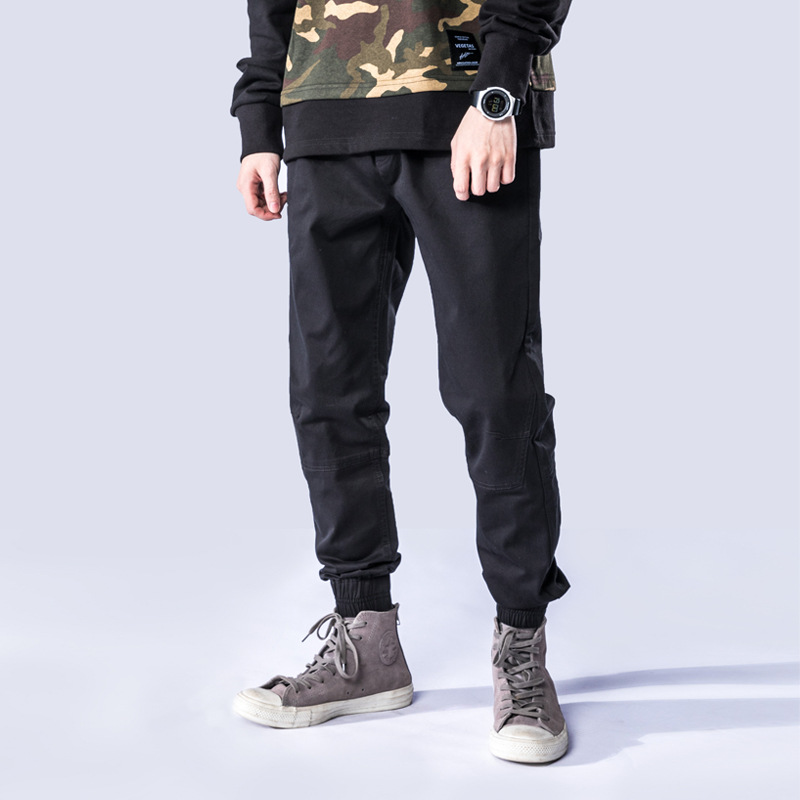 JINXUAN 2020 new casual cotton jogging woven trousers, simple high-end men's jogging dead fly large