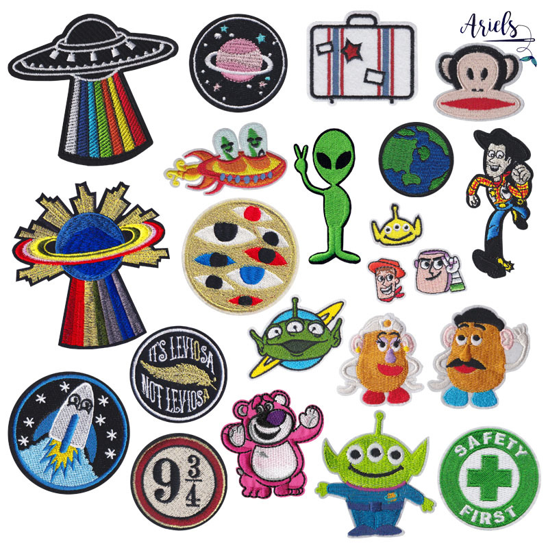 AILIER Cartoon embroidery cloth paste alien earth micro chapter paste clothing accessories DIY patch