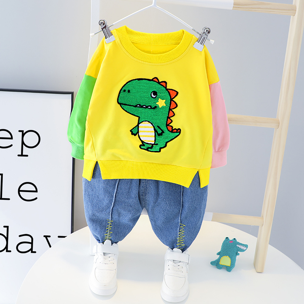 Small and medium-sized children boys baby cartoon little dinosaur casual jeans two-piece suit childr