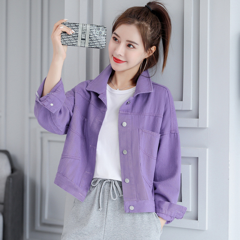 Real shot denim casual jacket female design sense wild spring 2020 new spring and autumn Korean loos