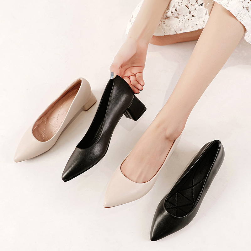 2020 new leather shoes pointed toe professional thick heel high heels professional women's shoes al