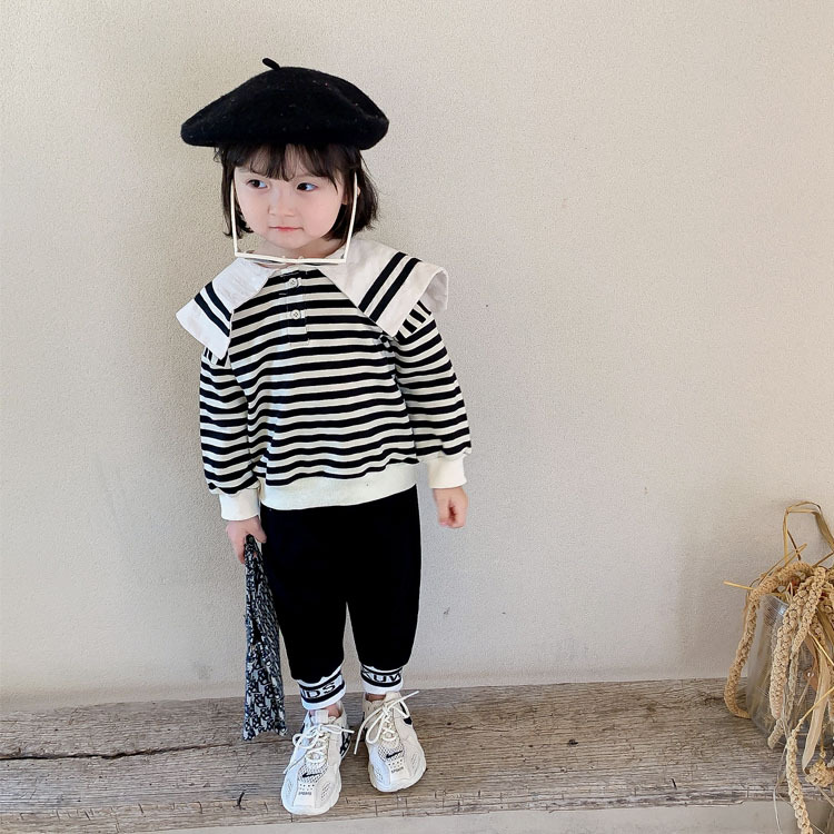 Children's clothing 2020 autumn new children's navy collar striped sweater and pants suit small an