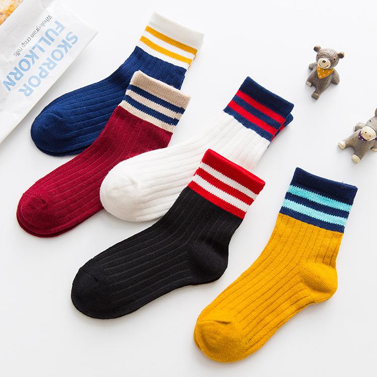 Autumn and winter children's socks three bars children socks Korean style trendy cotton socks jacqu