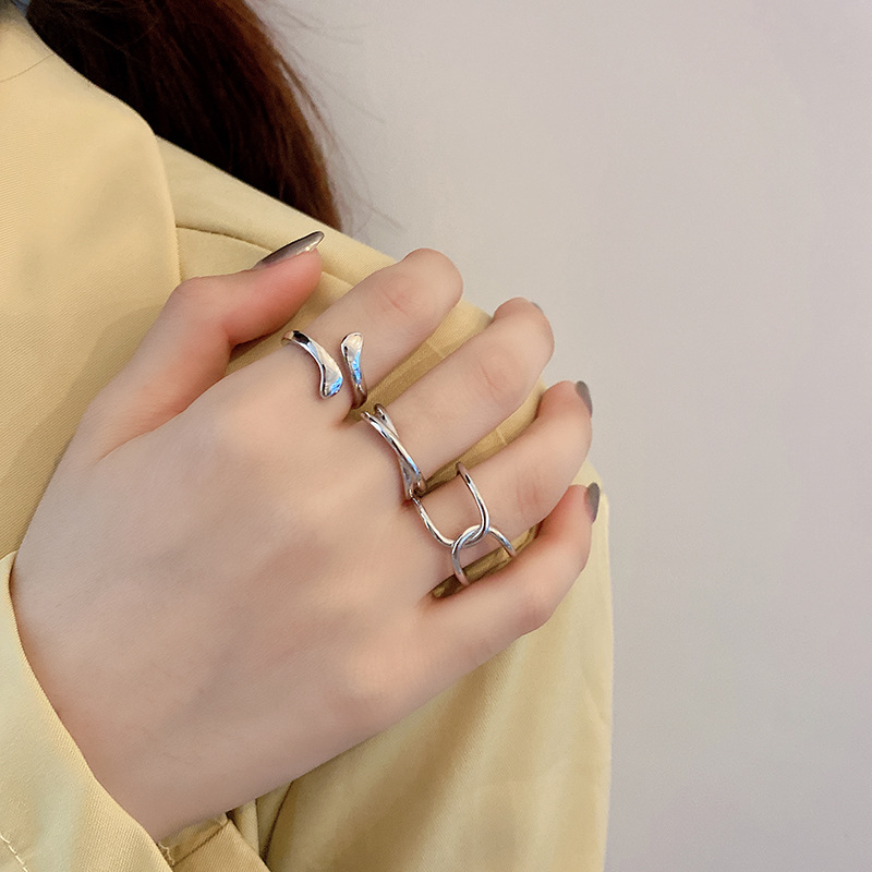 Japanese and Korean new S925 Sterling Silver Ring for women retro fashion personality cool style ope
