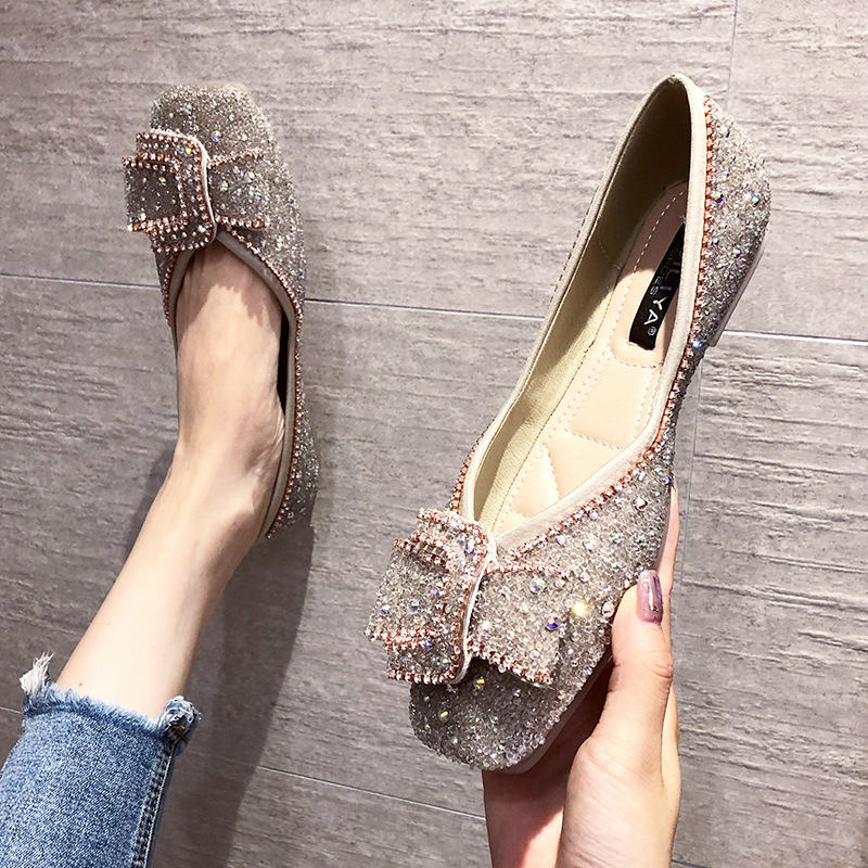 Giày búp bê đế bệt đính hột kim tuyến lấp lánh dành cho nữ