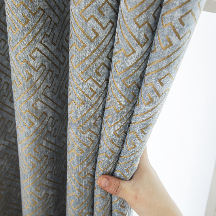 LAOWANTONG Chenille stitching blackout curtains custom living room bedroom solid color jacquard curt
