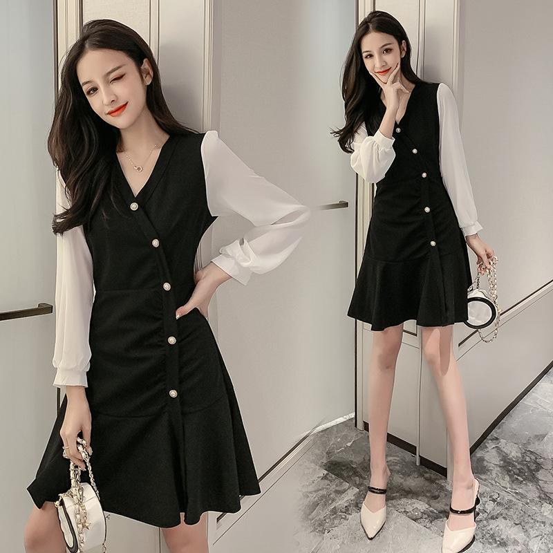 2020 real shot new French bellflower skirt v-neck stitching sleeves thin black dress dress
