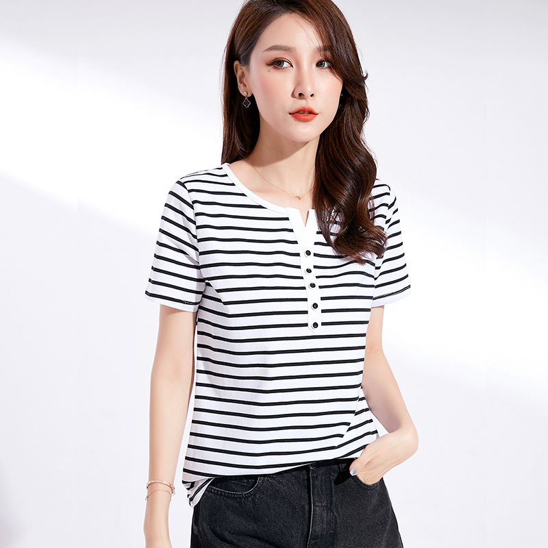 Summer new Korean V-neck short sleeve T-shirt women's striped slim T-shirt half sleeve cotton top l