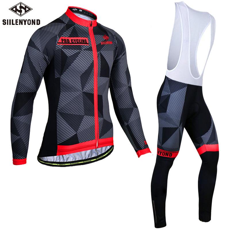 SIILENYOND Autumn Cycling Wear Long Sleeve Strap Set Men's Perspiration Cycling Wear Mountain Bike
