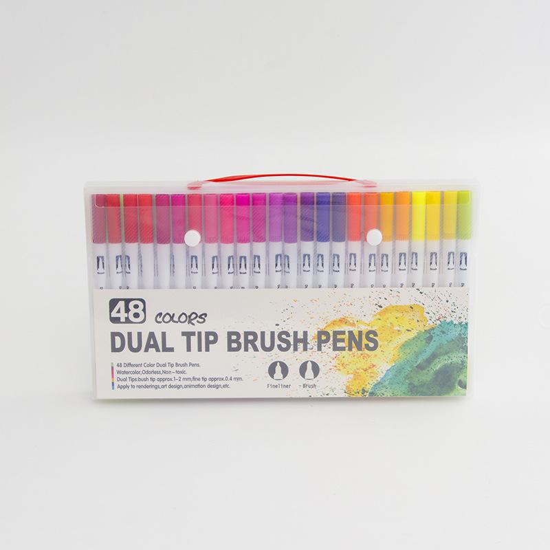 LC 48 color double head watercolor pen soft bristle hook thread head PP box student art graffiti col
