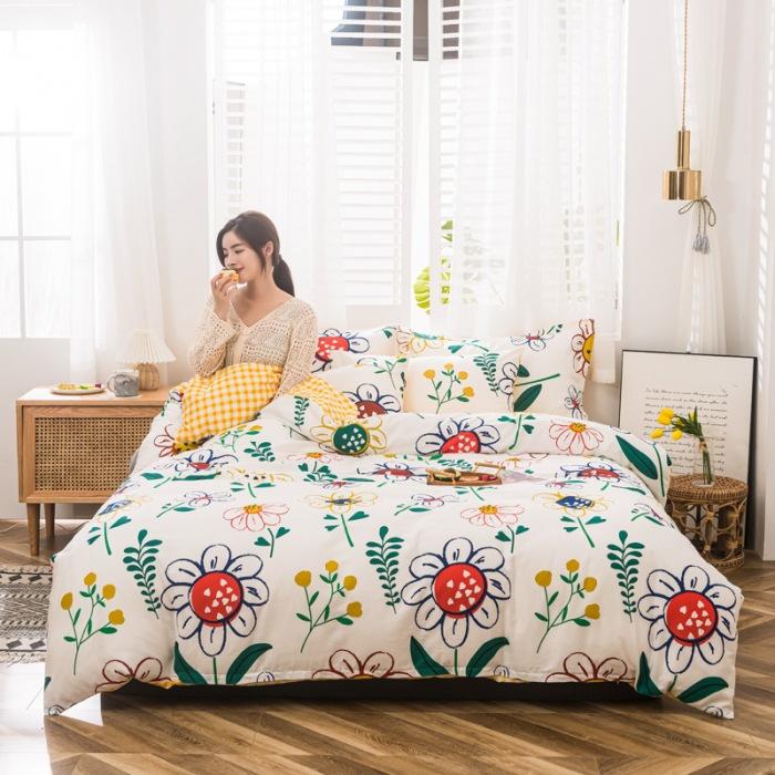Bộ khăn trải giường cotton dày, bộ ba mảnh vải nhám