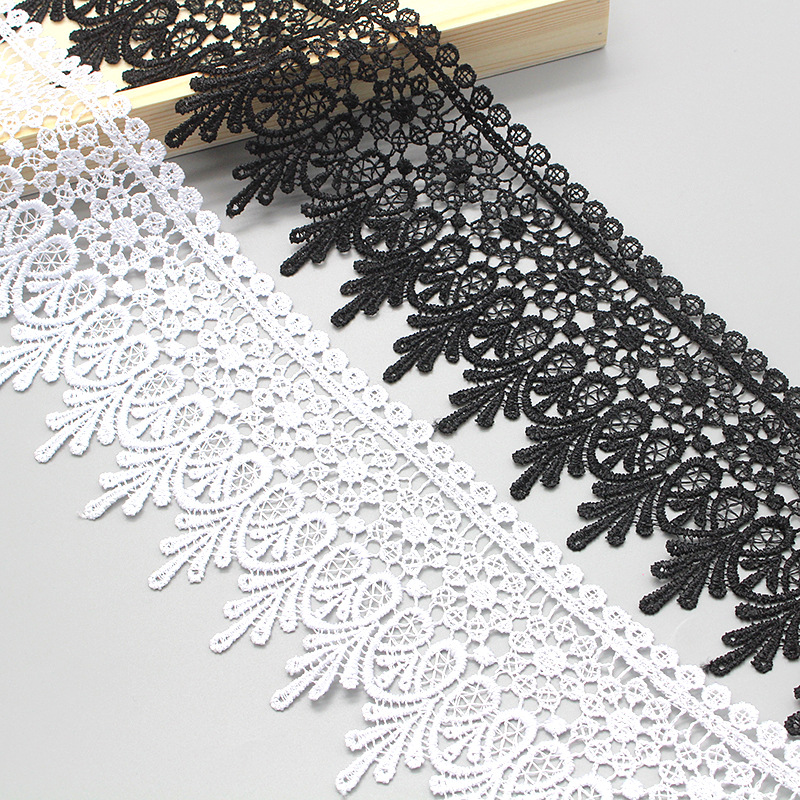 Sewing process black and white lace 9cm polyester lace shoes and hats lace clothing packaging DIY ma