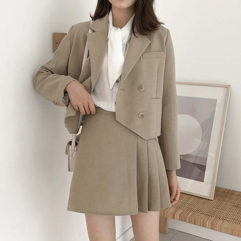 APXIVI Small suit jacket female Korean version 2020 new pleated short skirt small suit autumn W10926