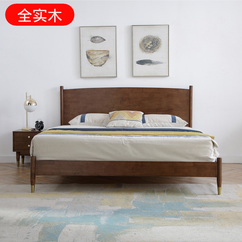 ZHUANGCHEN Nordic Light luxury solid wood bed extremely simple double walnut luxury quality suite fu