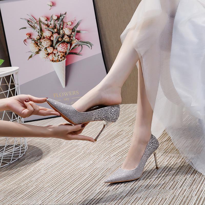Rojey vessi 2020 autumn new sequined high heels women's stiletto gradient French bridal wedding sho