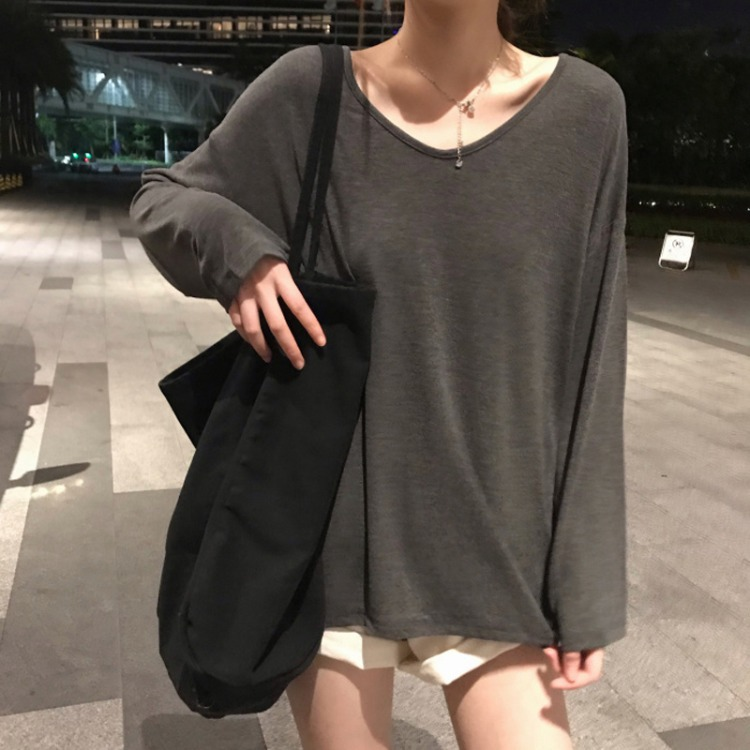 Autumn 2020 new Korean V-neck loose solid color long sleeve T-shirt women's net red super hot botto