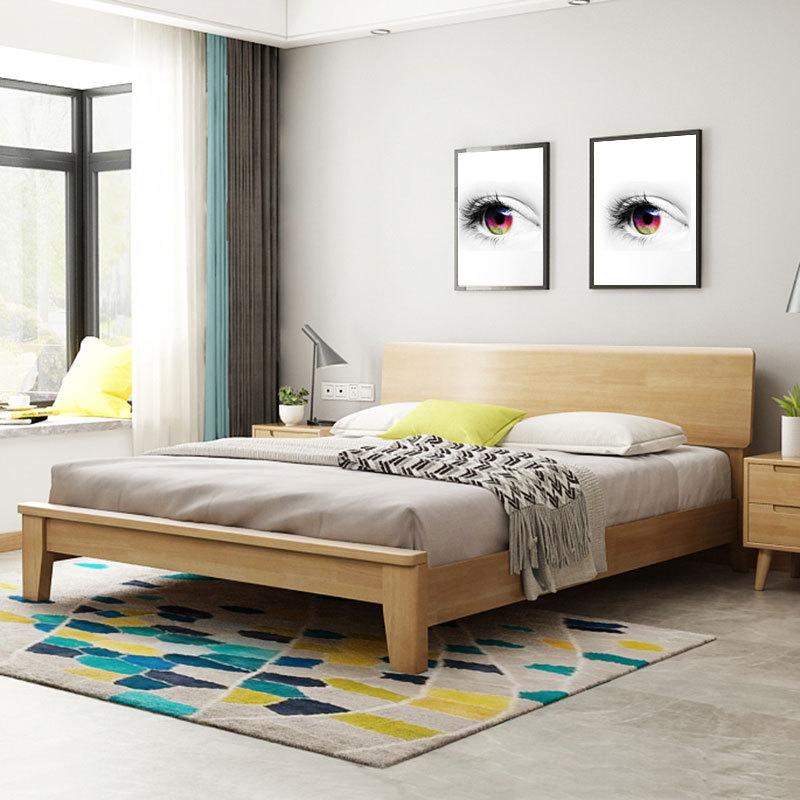 DEERHUI Nordic solid wood bed 1.8m simple modern bed frame double bed wedding bed solid wood single