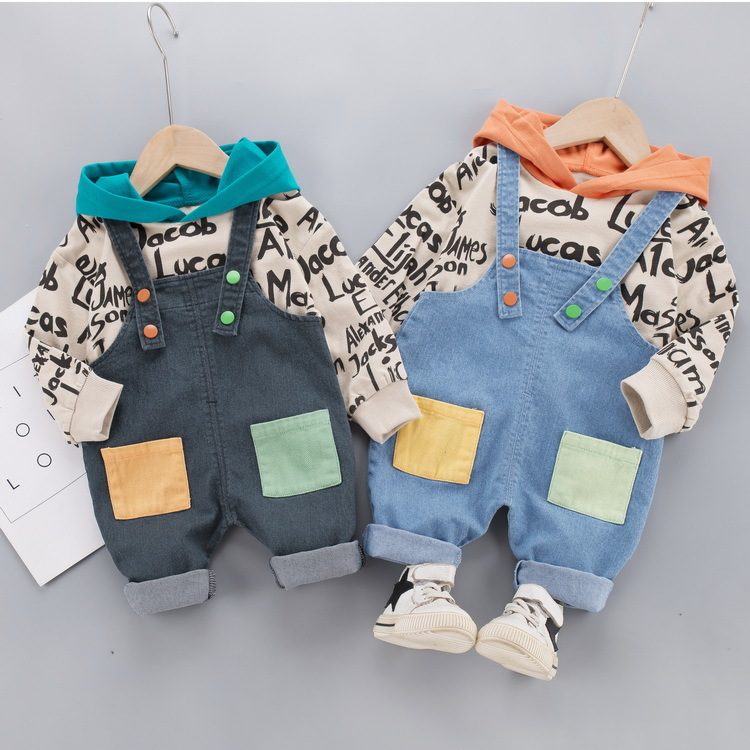 Little boy baby handsome boy baby 2020 autumn fashionable long-sleeved trousers bib children's suit