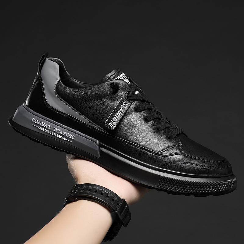 SHOUHU 2020 autumn new men's shoes Korean black board shoes all-match casual leather shoes leather