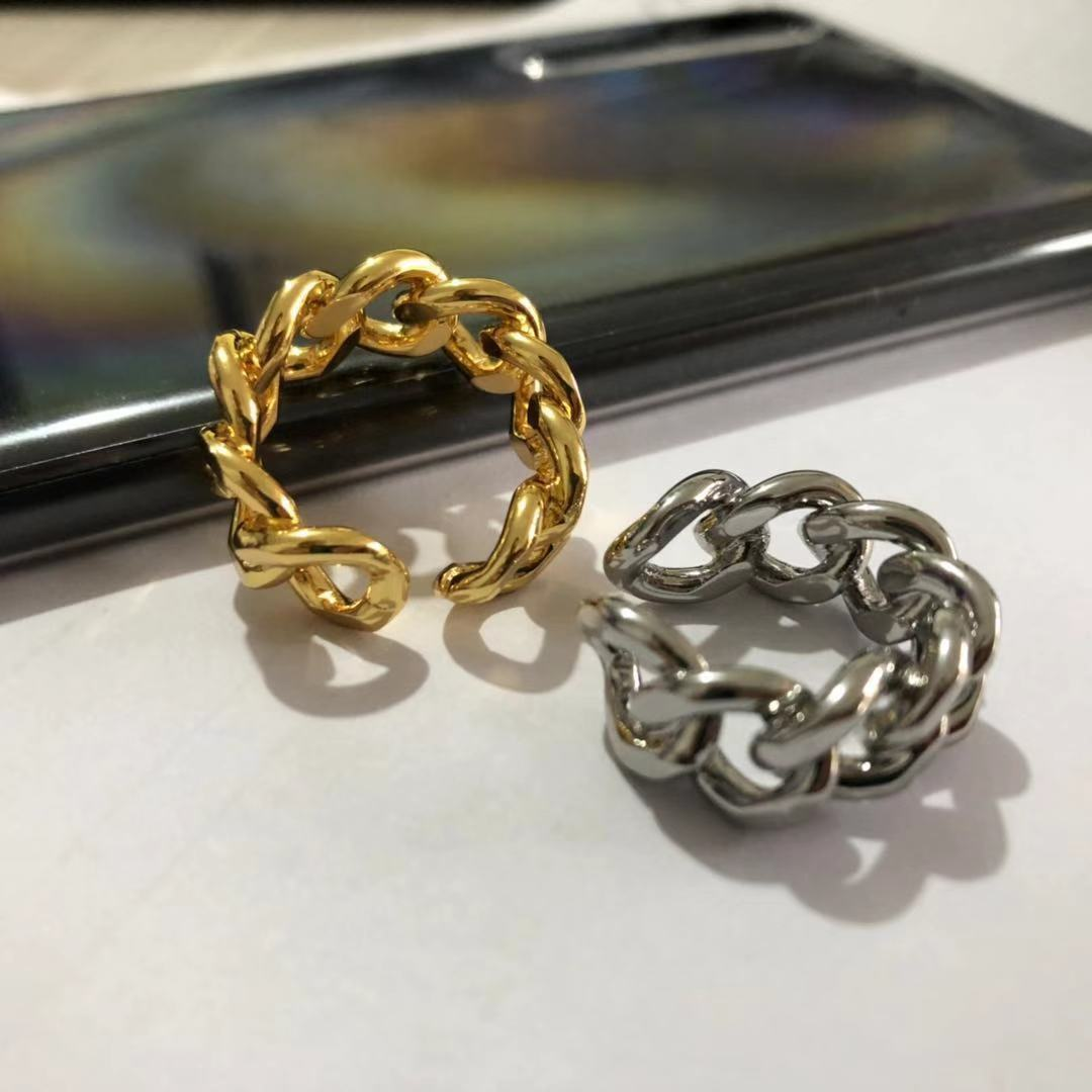 Accessories new style ring simple European and American fashion gold plated hollow out opening adjus