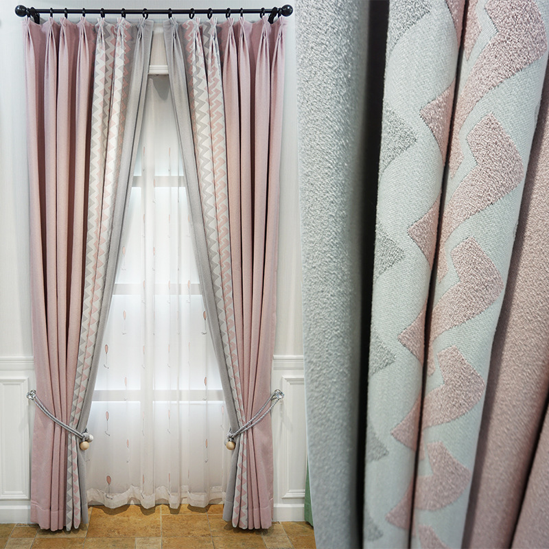 SHENGSHI New cotton and linen seamless splicing blackout curtain fabric modern simple curtain living