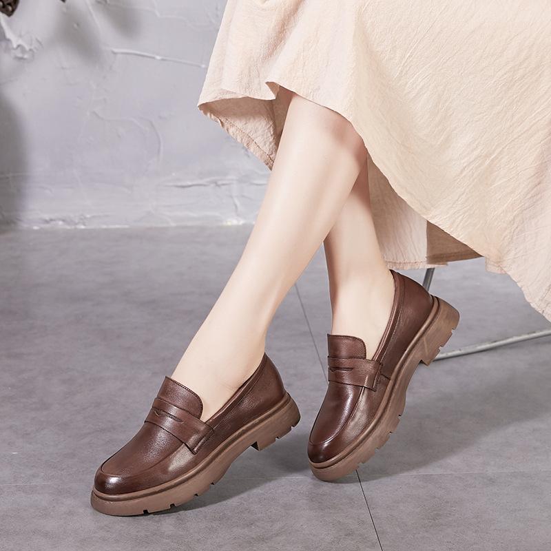 Giày Da đế dày kiểu dáng thời trang retro cho nữ